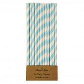 Papirsugerør - blå/hvid stribede
