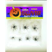 8 små spindelvæv med edderkopper