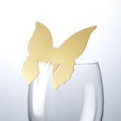 Sommerfugle bordkort til glas - guld