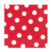 Røde servietter med hvide prikker