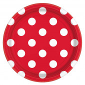 Røde paptallerkner med hvide prikker