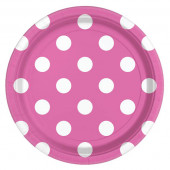 Pink paptallerkner med hvide prikker