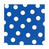 Blå servietter med hvide prikker