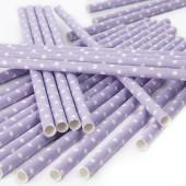 Polkaprikkede papirsugerør - lavendel