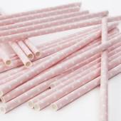 Polkaprikkede papirsugerør - lyserød