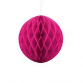 Mørk pink papirkugle 10 cm