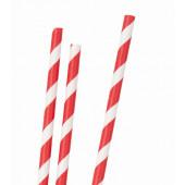 Papirsugerør - røde striber - 30 stk