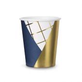 Papkrus med mønster - navy blå og guld