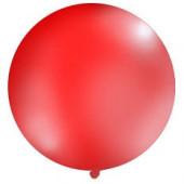 Stor ensfarvet ballon - 1m - pastel rød