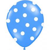 Blå balloner med hvide prikker