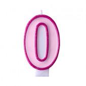Fødselsdagslys - pink - tal 0