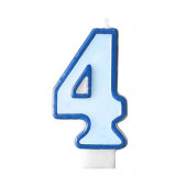Fødselsdagslys - blå - tal 4