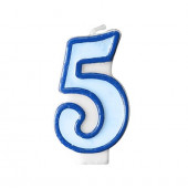 Fødselsdagslys - blå - tal 5