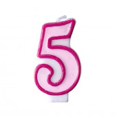 Fødselsdagslys - pink - tal 5