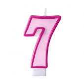 Fødselsdagslys - pink - tal 7
