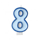 Fødselsdagslys - blå - tal 8