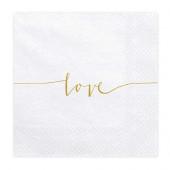 Hvide servietter med guld tekst Love