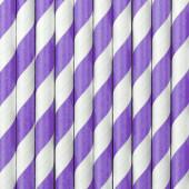Papirsugerør - hvide med lilla striber - 10 stk