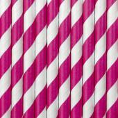 Papirsugerør - hvide med pink striber - 10 stk