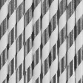 Papirsugerør - hvide med sølv striber - 10 stk