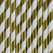 Papirsugerør - hvide med guld striber - 10 stk