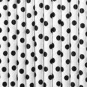 Papirsugerør - hvid med sorte prikker - 10 stk