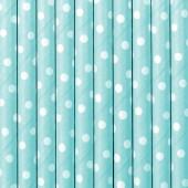Papirsugerør - sky-blå med hvide prikker - 10 stk