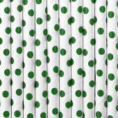 Papirsugerør - hvide med grønne prikker - 10 stk