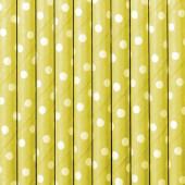 Papirsugerør - gule med hvide prikker - 10 stk
