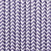 Papirsugerør - hvide med lilla zig zag - 10 stk