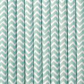 Papirsugerør - hvide med sky-blå zig zag - 10 stk