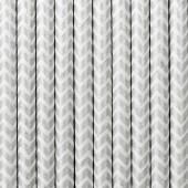 Papirsugerør - hvide med sølv zig zag - 10 stk