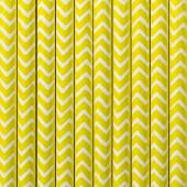 Papirsugerør - hvide med gule zig zag - 10 stk