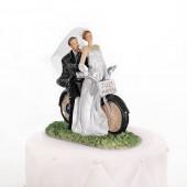 Bryllupsfigur med brudepar på crosser motorcykel