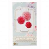Pink mix af papir pom pom'er af silkepapir - Pink pomponer i silkepapir