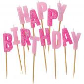 Pink og lyserød glimmer Happy Birthday kagelys