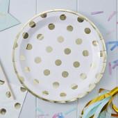 Hvide paptallerkner med guld prikker