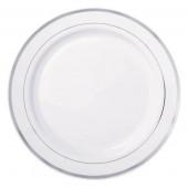 Premium plastik tallerkner i hvid med sølv kant
