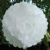 Hvide papir pom poms - 5 stk