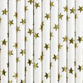 Papirsugerør - hvide med guld stjerner - 10 stk