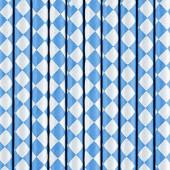 Papirsugerør blå med hvidt diamantmønster