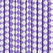 Papirsugerør lilla med hvidt diamantmønster