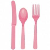 Plastik bestik - lyserød