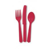 Plastik bestik - rød