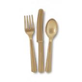 Plastik bestik - guld