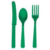 Plastik bestik - græs grøn