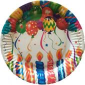 Paptallerkener med lys og balloner