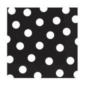 Sorte servietter med hvide prikker
