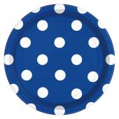 Blå paptallerkner med hvide prikker
