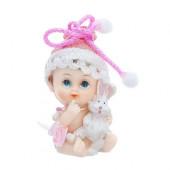 Barnedåbsfigur med pige og kanin